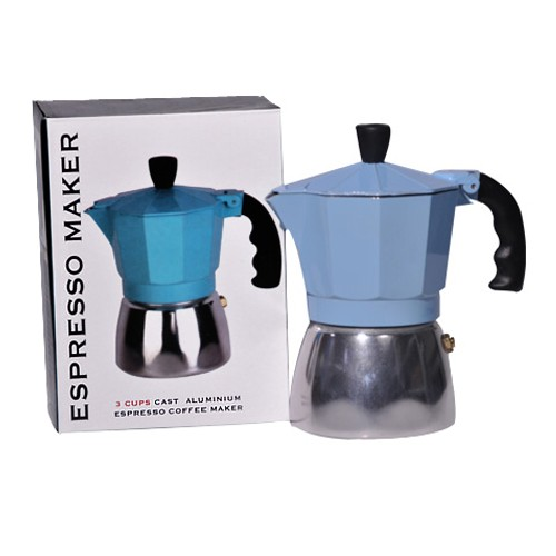 Espresso Maker Aluminum Blue 3 Cups Union Pharmacy Miami