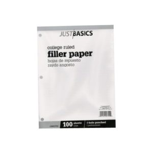 Just Basics Filler Paper College Ruled 100 sheets